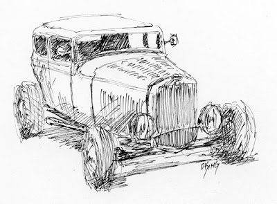 art sketch pen ink car ford sedan 1932 hot rod