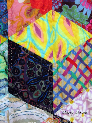 Hand quilted  - baby building blocks - kaffe fassett fabric ~ Marty Mason