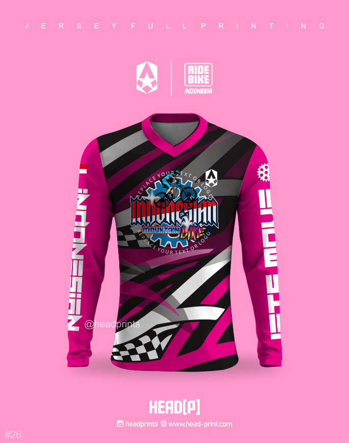 Pink Ride Bike Jersey Sepeda MTB Full Printing - Jersey Gowes Full Printing Custom