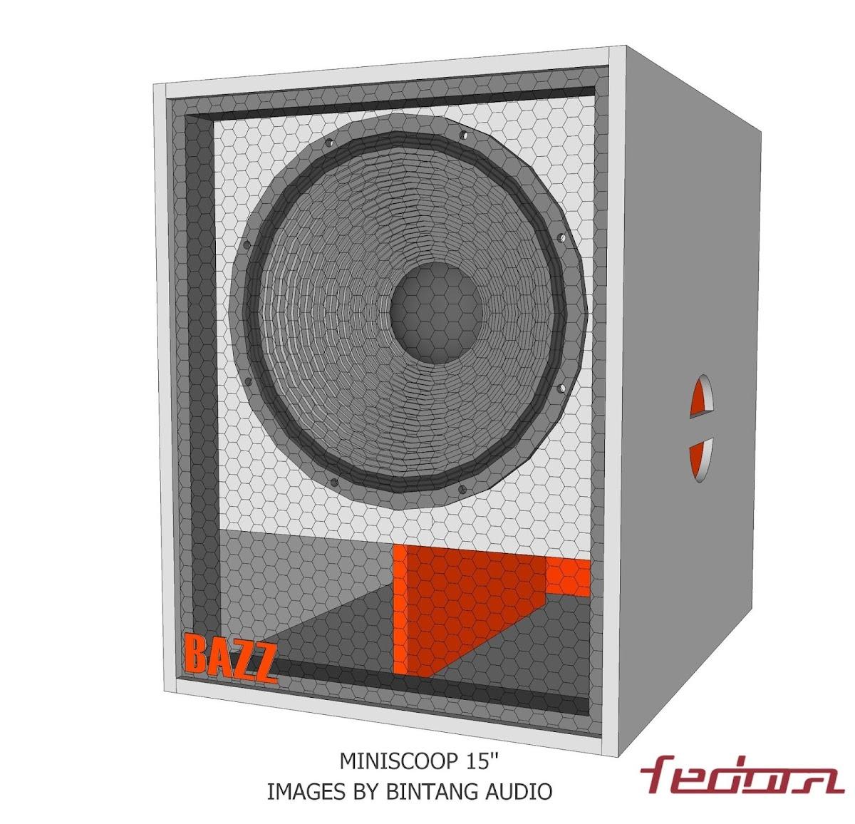 Tampak depan speaker Miniscoop 15 Inch