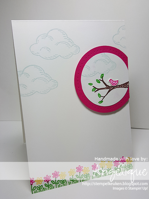 "http://stempelkeuken.blogspot.com De Stempelkeuken Sprinkles of Life, Melon Mambo, Daffodil Delight, Cucumber Crush, Soft Sky, 2 1/2"" Circle Punch, 2"" Circle Punch, Piercing Mat, Piercing Tool, Updated Essentials Paper piecing, blenderpen"