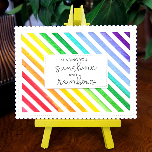 Rainbow Watercolor Card with Hello Bluebird Rainbow Script sentiment.