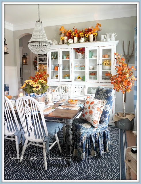 Farmhouse Cottage Style Fall Dining Room-Blue & White-From My Front Porch To Yours