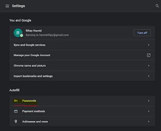pilih passwords di menu autofill