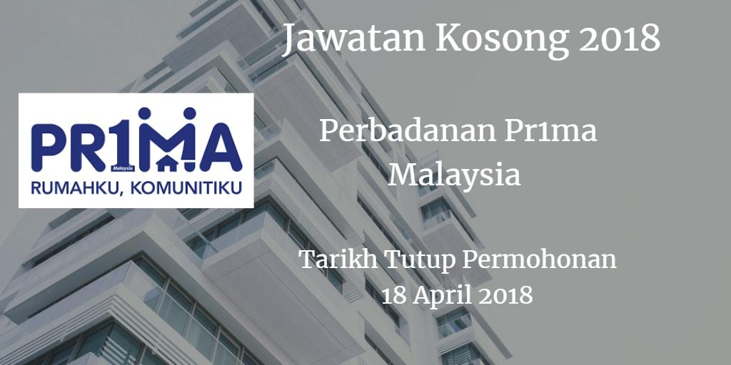 Jawatan Kosong Perbadanan Pr1ma Malaysia 18 April 2018