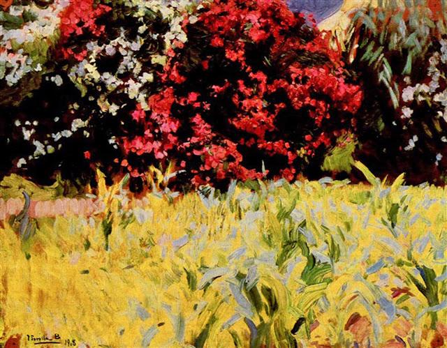 Jardín con adelfas, Joaquín Sorolla y Bastida, Joaquín Sorolla, Paisajes de Joaquín Sorolla, Impresionismo Valenciano, Joaquín Sorolla Bastida
