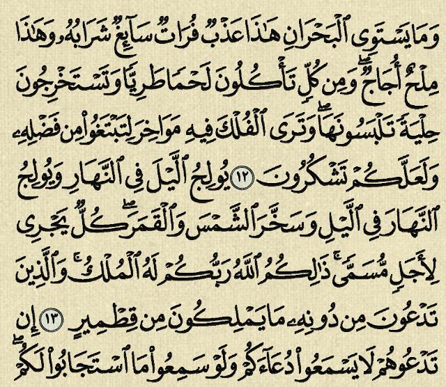 شرح وتفسير سورة فاطر Surah Fatir (من الآية 12 إلى الآية 26 )