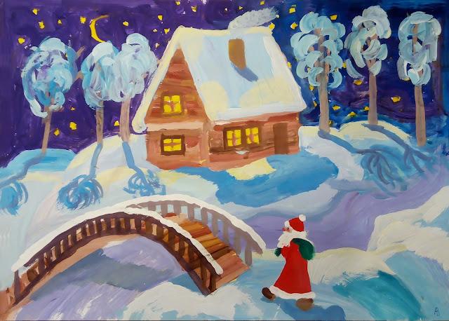 """рисунок Насти """"Новогодняя ночь"""""""