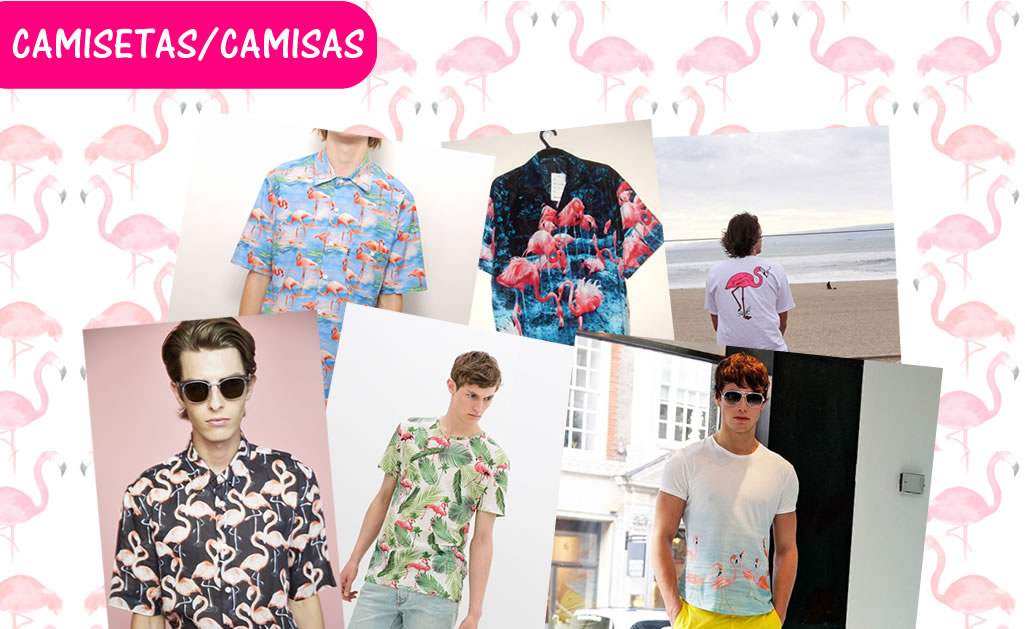 camisetas e camisas estampadas flamingos masculinos.