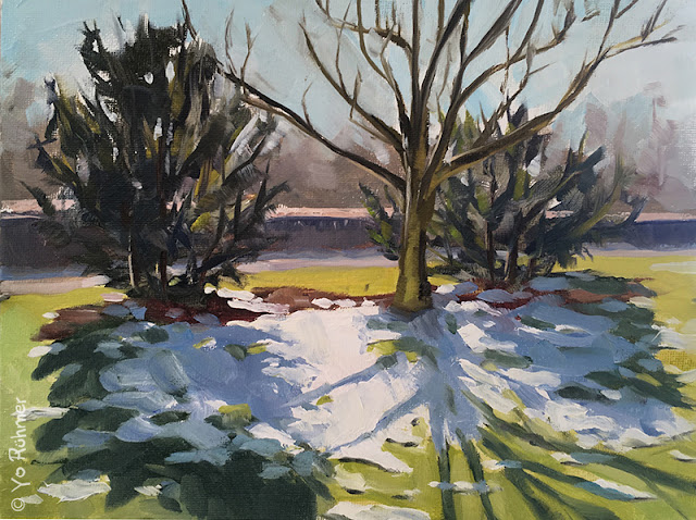 pleinairpainting, snow in the park