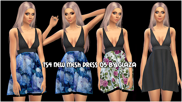 TS4 NEW MESH DRESS 05 BY GLAZA