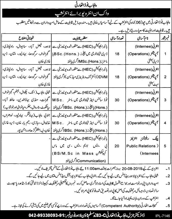 Punjab Food Authority Internship Program 2019 August