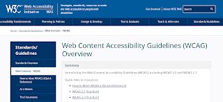 A screenshot of the W3C Web Content Accessibility Guidelines page