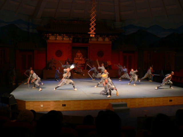 martial arts show at the Shaolin Monastery in Henan