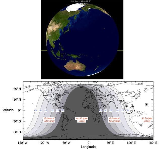 Visibilidade do Eclipse Lunar de 31 de janeiro 2018