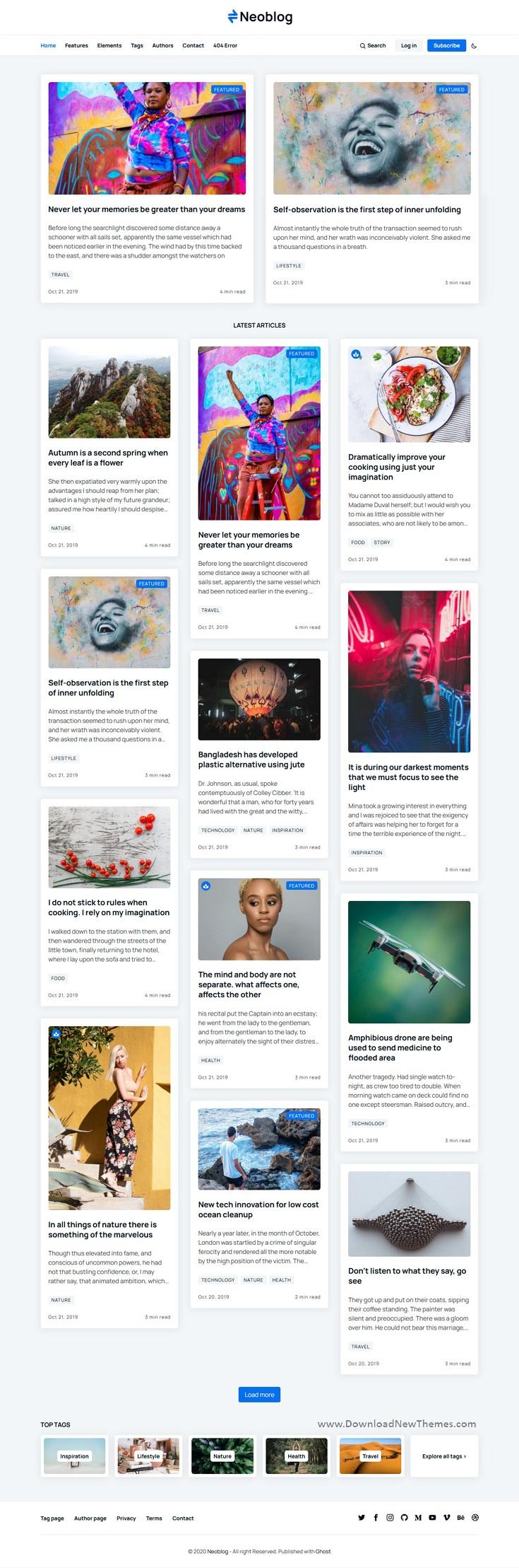 Masonry Ghost Blog and Magazine Theme