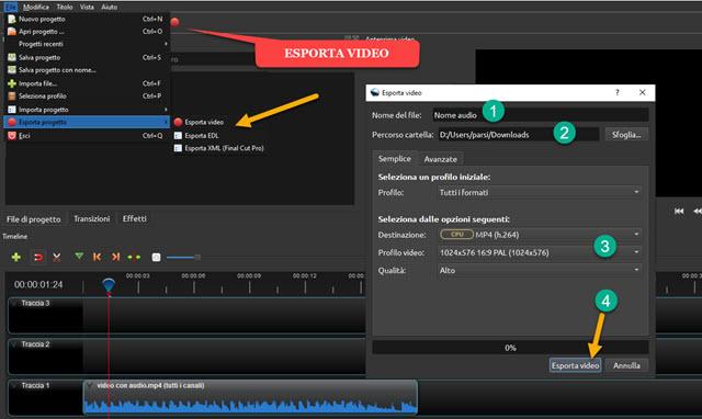esportare audio con openshot