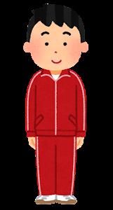 ジャージを着た男性のイラスト(赤)