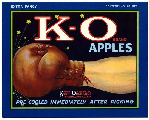 K-O Brand Apples fruit crate label from California Historical Society on Flickr Commons