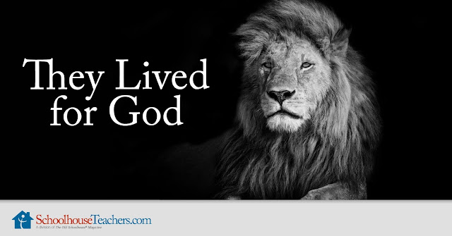Text: They Lived for God; image of a lion