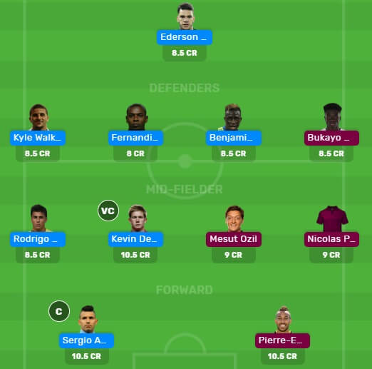 MCI vs ARS Dream11 Fantasy Football Team