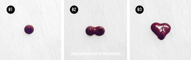 corazón chocolate paso a paso