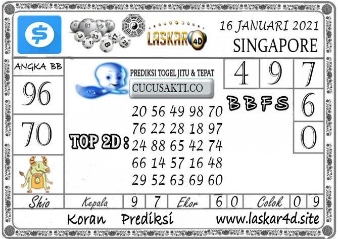 Prediksi Togel SINGAPORE LASKAR4D 16 JANUARI 2021