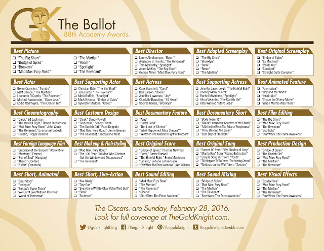 Printable one-page PDF 2016 Oscars Ballot by The Gold Knight