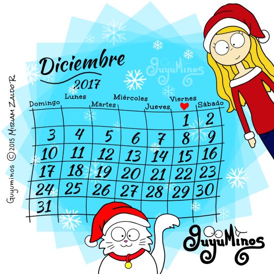 Calendario mes de diciembre 2017 guyuminos lindo gatito navideño