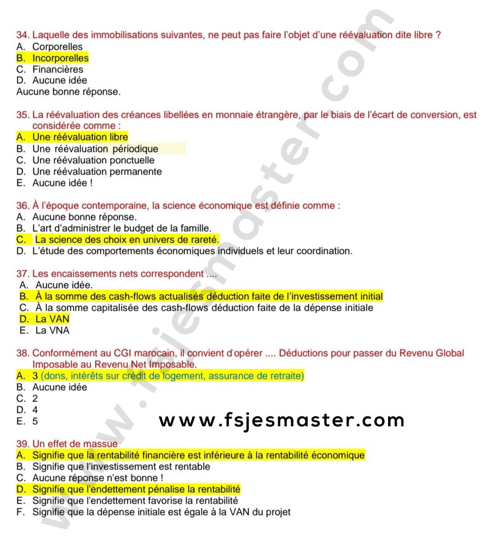 Correction du Concours Master Comptabilité Contrôle Audit (CCA) 2020-2021 - Fsjes Souissi