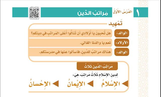 تمهيد لدرس مراتب الدين للصف الثالث