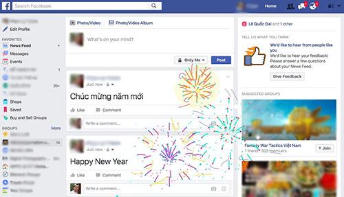"""Facebook tung hiệu ứng """"Happy New Year"""" hấp dẫn người dùng"""