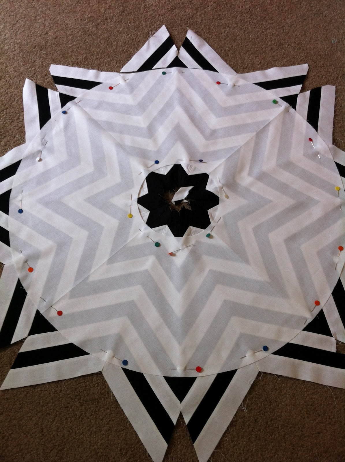 b13bbf93eb (Tape it back together so that it's one fourth of a circle again.) Center  it over your chevron ...