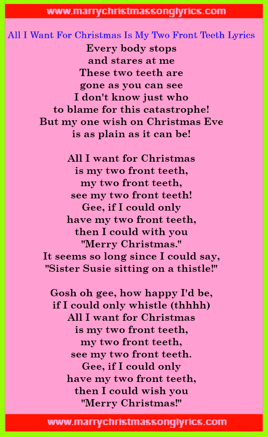 All I Want For Christmas Is My Two Front Teeth Lyrics Image