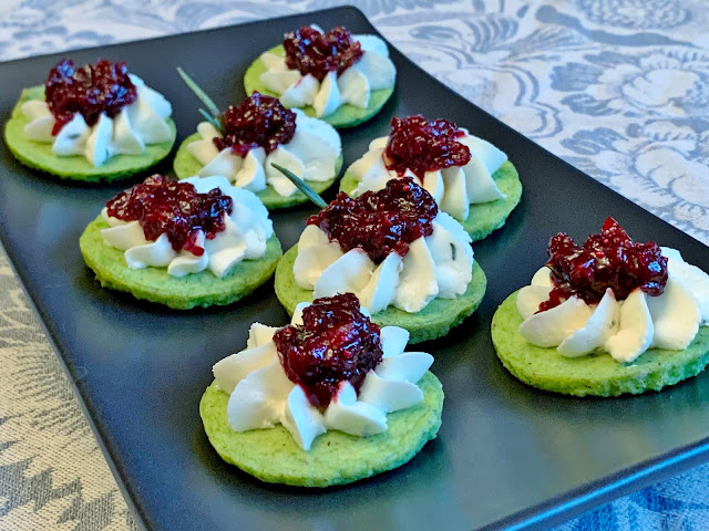 Green Pea Pancakes with Cheese and Spicy Cranberry Five-Spice Relish