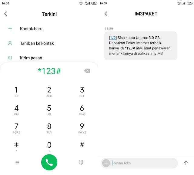 3. Cara Cek Kuota Indosat IM3 dengan Dial