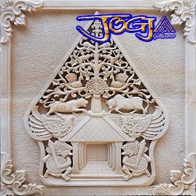 Relief kayon batu putih 3 gambar motif