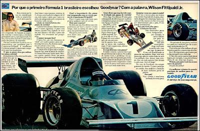 propaganda Good Year - Formula 1 - 1974, pneus Good Year 1974, Formula 1 anos 70, Wilson Fittipaldi Jr., carro formula 1 antigo, Oswaldo Hernandez,