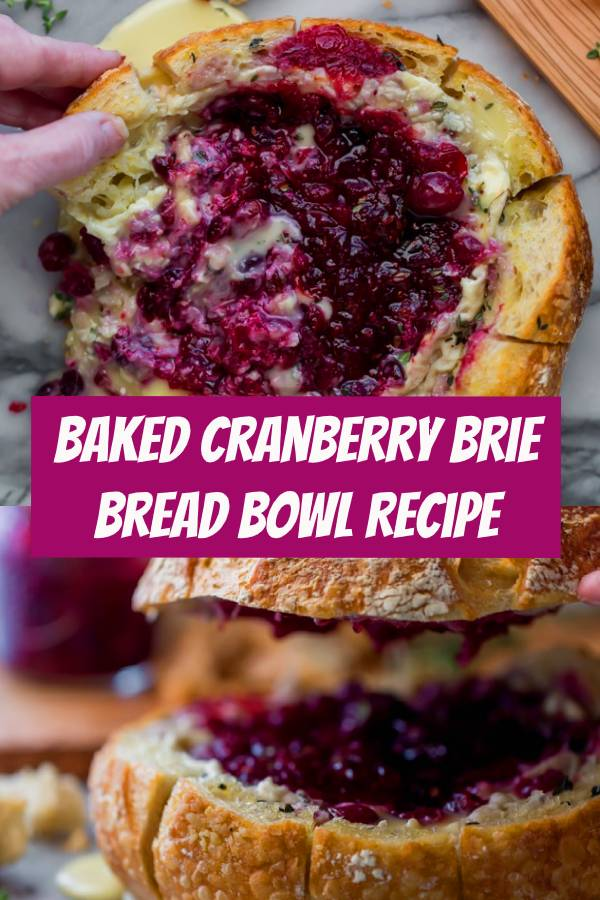 This tear apart Baked Cranberry Brie Bread Bowl is a beautiful holiday party appetizer. Melty brie and sweet tart cranberry sauce are a match made in heaven! #cranberry #holidayrecipes #appetizers #bread #partyfood