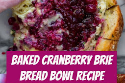 Baked Cranberry Brie Bread Bowl Recipe #cranberry #holidayrecipes #appetizers #bread #partyfood