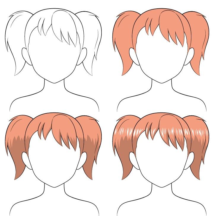 Shading rambut kuncir anime selangkah demi selangkah
