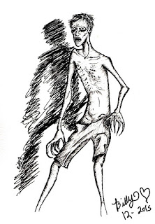 Boceto de un hombre extremadamente delgado, sin camisa y en pantalonetas, con ojos largos negros y manos con forma de garra