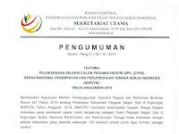 Pelaksanaan CPNS Badan Nasional Penempatan Dan Perlindungan Tenaga Kerja Indonesia (BNP2TKI) Tahun Anggaran 2019