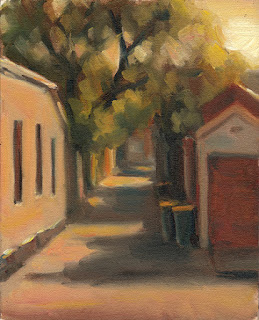 Oil painting of a narrow laneway with green bins and vegetation.