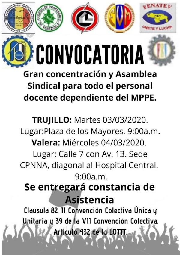 Convocatoria: Gran concentración y Asamblea Sindical para todo el personal docente dependiente del MPPE.