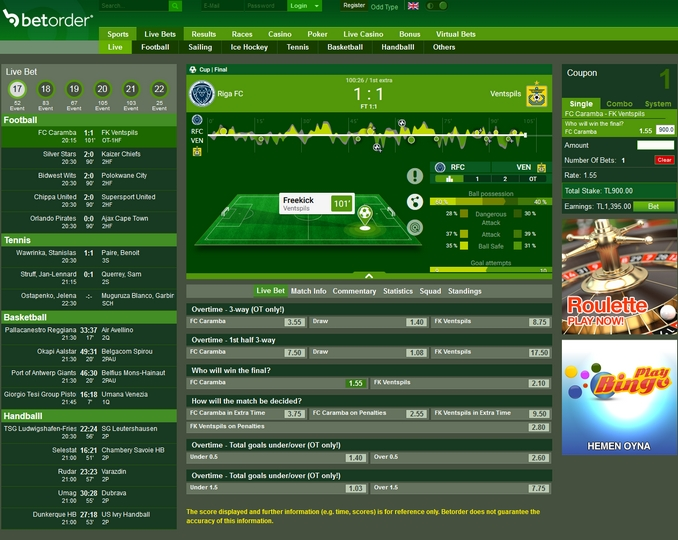 Betorder Live Betting Screen