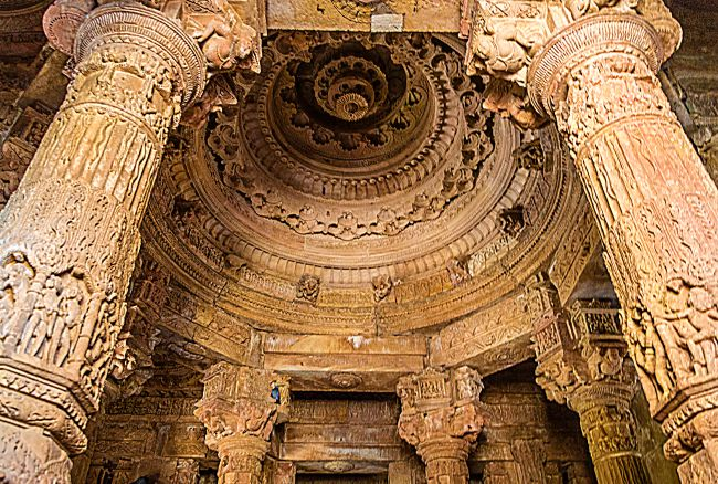 Beautifully carved roof of the Rang Mandap
