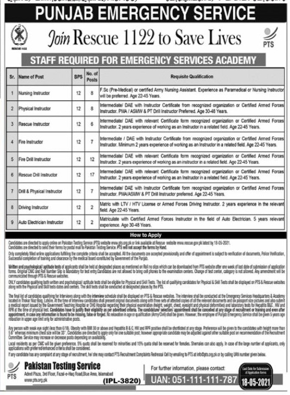 Punjab Emergency Service (Rescue 1122) Jobs 2021 in Pakistan