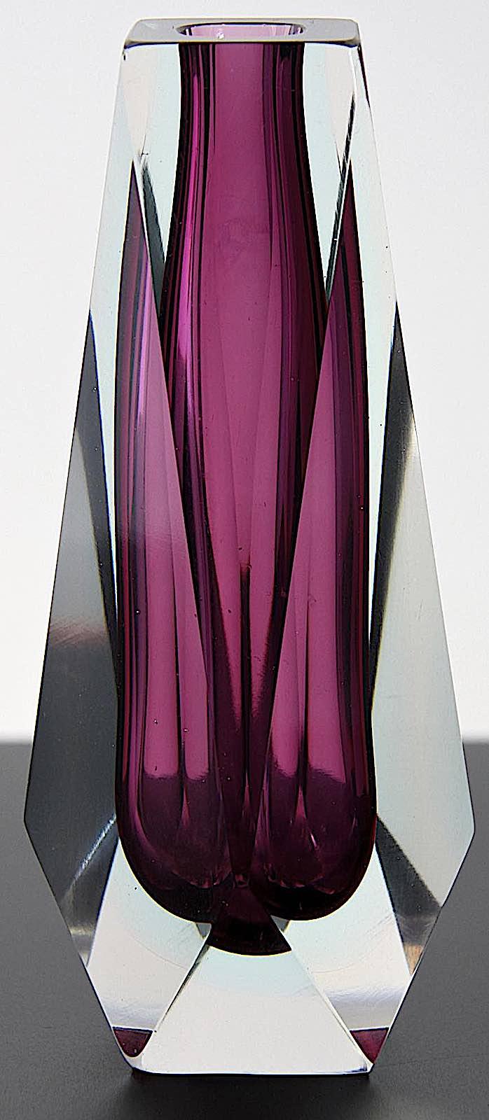 Murano Glass 1960s, a purple glass vase