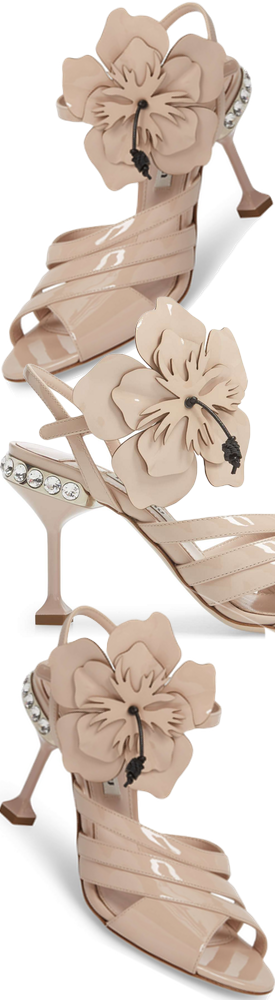 Miu Miu Flower Appliqué Sandal in Cipria